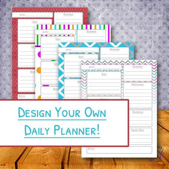 Design your own printable daily planner the perfect day for Design my own planner