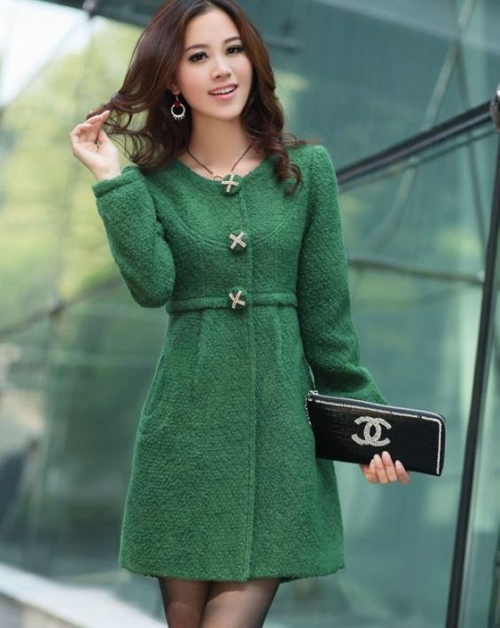 Winter single-breasted wool coat dresses women's coat green | Fall