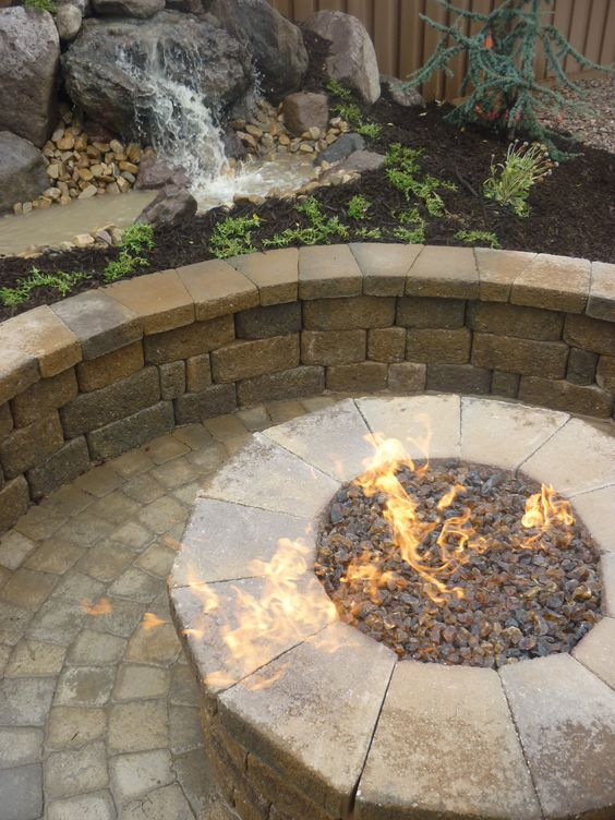 paver fire pit and water feature in the backyard in utah ideas for the house pinterest. Black Bedroom Furniture Sets. Home Design Ideas