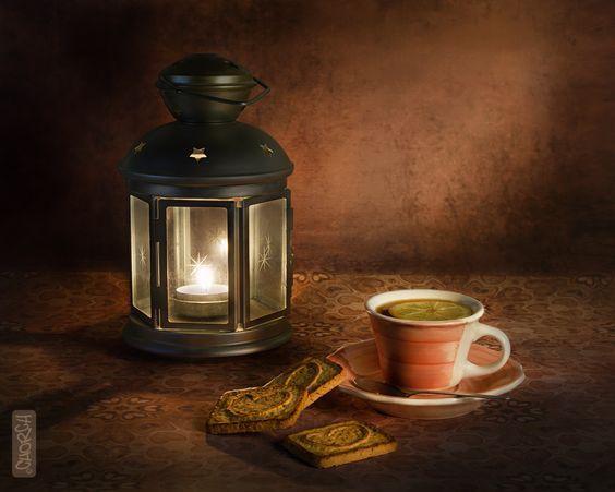 Bodegón con farol y té. Still life tea cup.