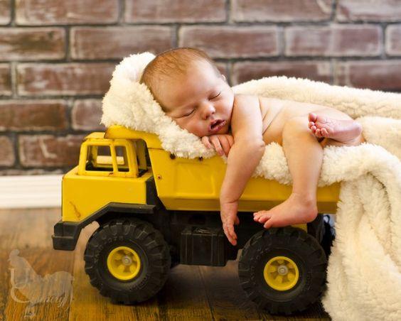 Toy Dump Trucks For Boys : Sweet baby photo in a toy dump truck definitely doing