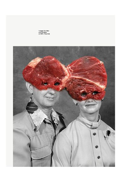 Graphic Illustrations by Brest Brest Brest: abusing the collage technique on found portraits. The collective includes the graphic designers Rémy Poncet, Jarsaillon Arnaud, and François Gaillard.