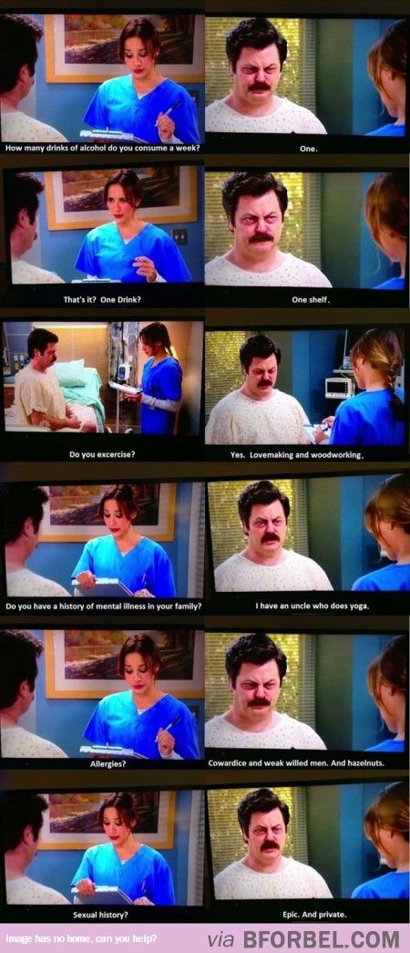 Ron Swanson Answering Medical Questions…