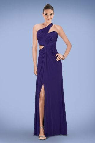 Glamorous One-shoulder Purple Side Split Prom Dress with Beads and Pleats