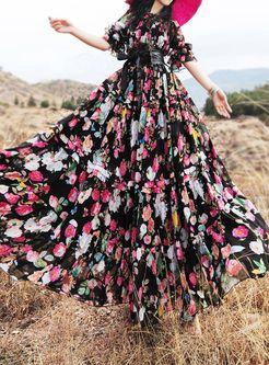 Bohemia Floral Print Waist Big Hem Long Dress