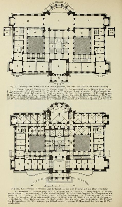 Floor Plans Of The Palace Built In Strasbourg For The German Emperor Wilhelm Ii In The Late 19th Century Castle Plans Mansion Floor Plan Mansion Plans