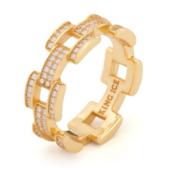 14K Gold Sterling Silver Link Ring