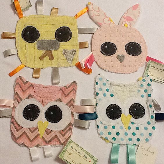 Mini Taggy Friends Owls, lions, bunnies Vintage chenille and ribbons Moxieandzab@yahoo.com See FB link, London, on