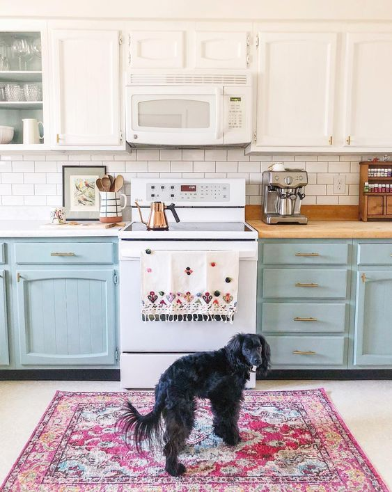 Annie Sloan Colorful Chalk Painted Kitchen Cabinets- Two Years Later. Holland Avenue Home.