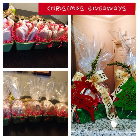 Xmas 2013 giveaway packaging .Made them with ceramic loaf dish and felt xmas decors .