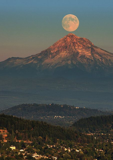 Moonrise over Mt. Hood (taken from the Pittock Mansion in Portland's west hills) - Oregon