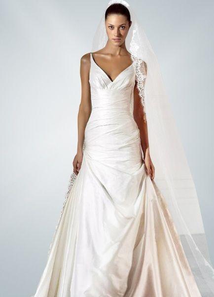 V-Neck Taffeta A-Line Wedding Dress With Pleats $297.49