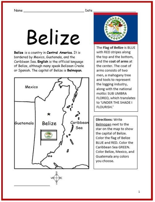 Color And Learn Geography Belize Belize Geography Geography Lessons