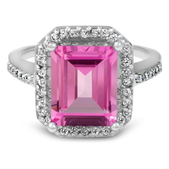 Bliss Diamond 4 1/2 CT Pink Topaz & Diamond Vintage Halo Engagement... ($678) ❤ liked on Polyvore featuring jewelry, rings, jewelry & watches, white gold diamond ring, white gold engagement rings, diamond engagement rings, engagement rings and 14k ring