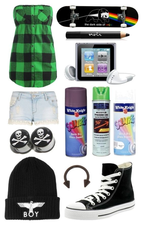 """ummm..skateboard ! :D"" by i-kissed-a-zombie ❤ liked on Polyvore featuring Parisian, Wet Seal, Converse, BOY London, Noir Cosmetics, women's clothing, women's fashion, women, female and woman"
