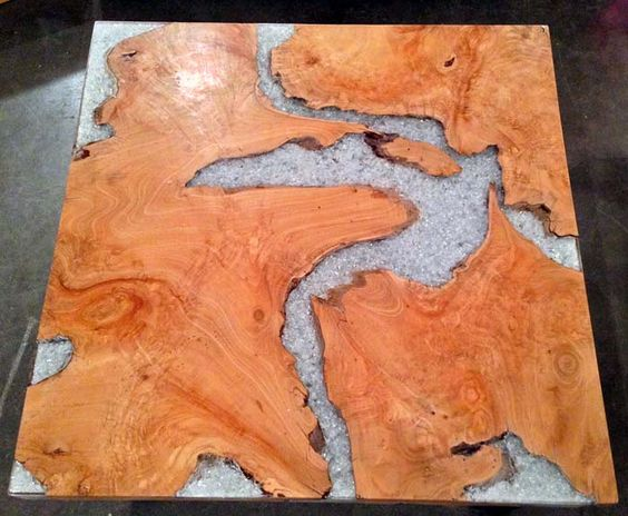 Reclaimed Teak Broken Glass Resin Coffee Table From Impact Imports Of Boise And