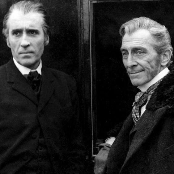 Movie Scenes & Stills (@moviescenesandstills) on Instagram: âThe always excellent Christopher Lee and Peter Cushing on the set of Dracula A.D.1972 (1972)â¦â