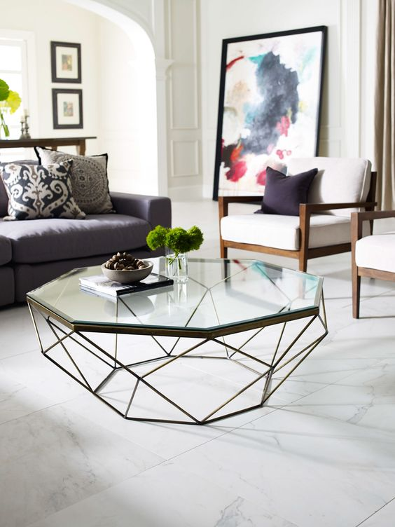 dixon geometric modern antique brass octagonal coffee table bandero office desk 100