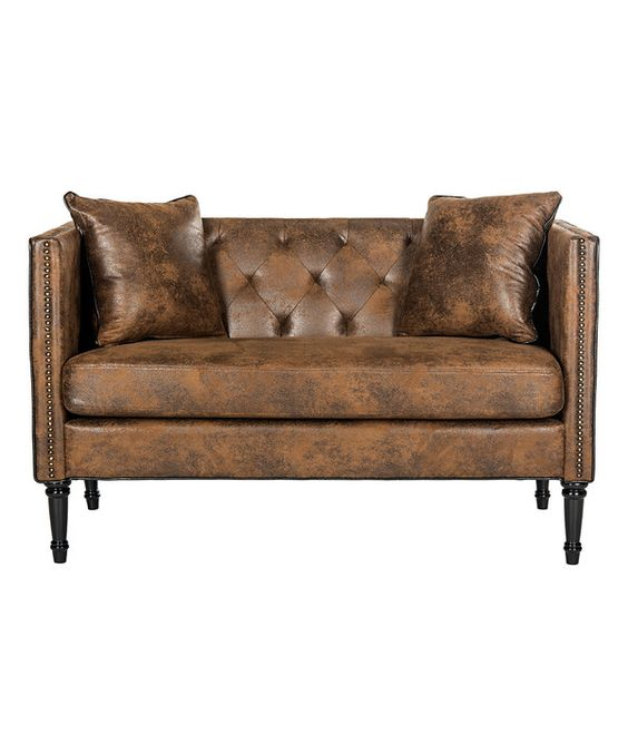 Look at this Marquel Tufted Settee Sofa on #zulily today!