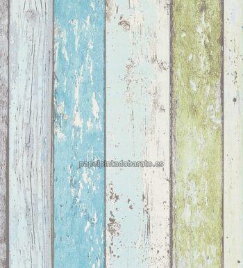 Papel pintado madera envejecida estilo vintage verde 8550 for Papel pintado verde