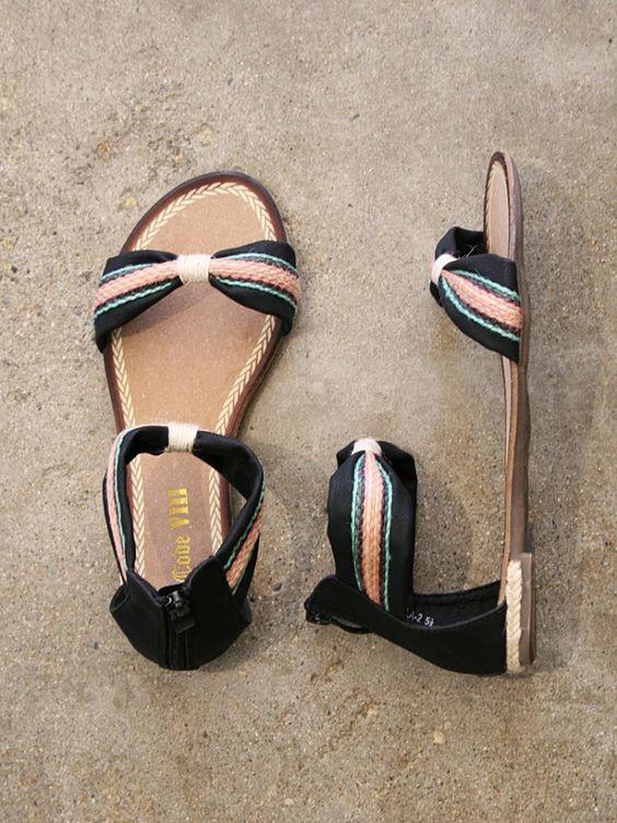 black faux leather sandals