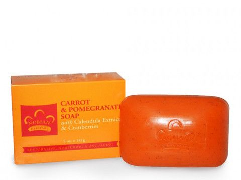 Carrot and Pomegranate Bar Soap - Nutrient-rich Carrot Seed Oil, ground Pomegranate and Cranberry Seeds are blended into our moisturizing Carrot & Pomegranate Shea Butter-based soap. Calendula Extract alongside Vitamins A, E and F, help soothe minor skin irritations.  face #skin #organic #ecoorganicgoods