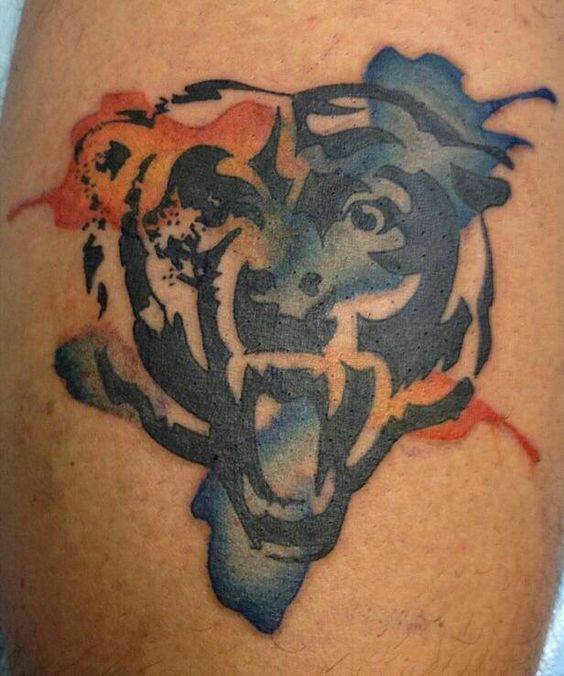 Done by Russo at The Tattoo Lady in Hammond, Indiana. #watercolor #bears #chicago #tattoo #chicagobears #nfl #football