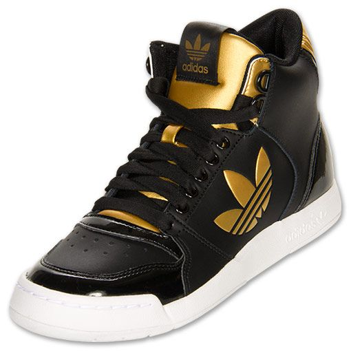 adidas Originals Midiru Court 2.0 Mid Women\u0027s Athletic Casual Shoes |  FinishLine.com | Black/Gold | Fresh Kicks Wishlist | Pinterest | Casual  shoes, Black ...