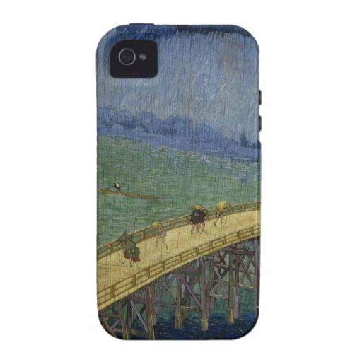 Bridge in Rain after Hiroshige by Vincent Van Gogh iPhone 4 Covers