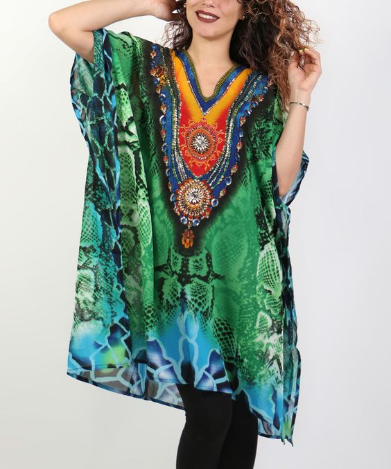 Loving this Shoreline Green Abstract Cape-Sleeve Tunic - Plus on #zulily! #zulilyfinds