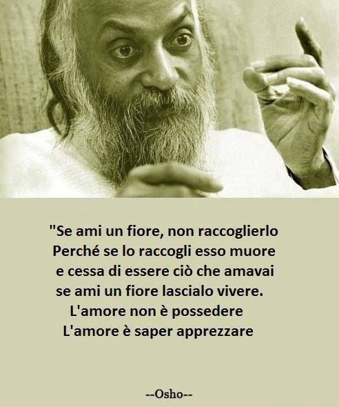 If you love a flower does not pick it up. Because if you pick it up it dies and ceases to be what you loved. If you love a flower let him live. The love is not to possess, love is able to appreciate. <3 Osho <3