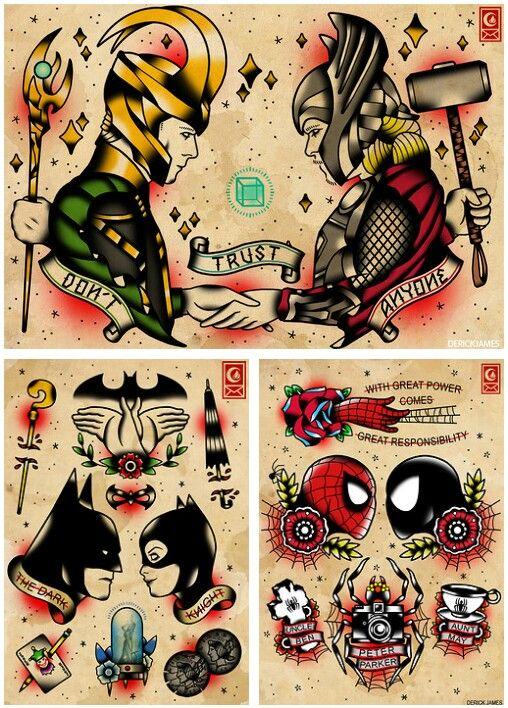 Superhero tattoo flash