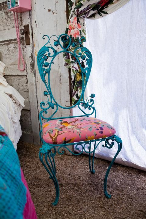 junk gypsy rusty crusty fleamarket chair painted turquoise. from the junk gypsies series on hgtv. reruns now on Great American Country, gactv!