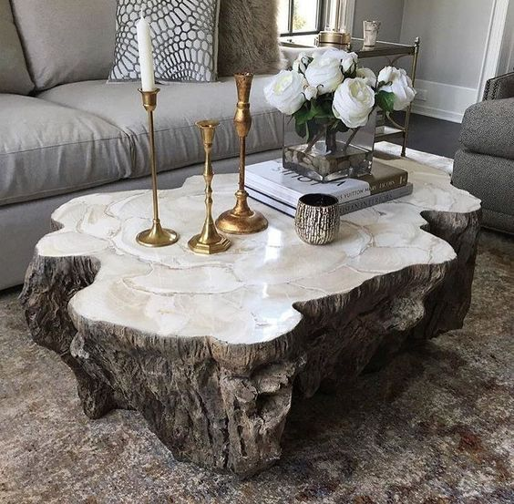Trunk Shaped Clam Shell Lava Coffee Table Stonecast Top with Inlaid Fossilized Clam Shell on Stonecast Base Made to Resemble Tree Trunk Each Piece Varies Due to Natural Elements