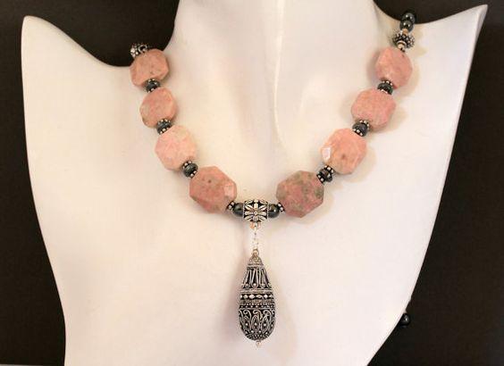 Pastel Pink Peace Jade Charcoal Gray Hematite and by Karenda