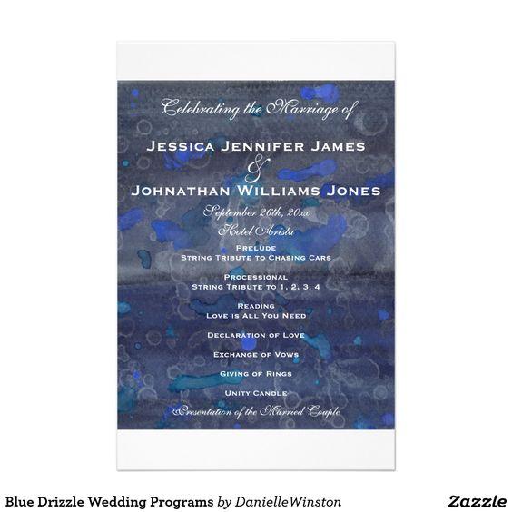 "Blue Drizzle Wedding Programs 5.5"" X 8.5"" Flyer"
