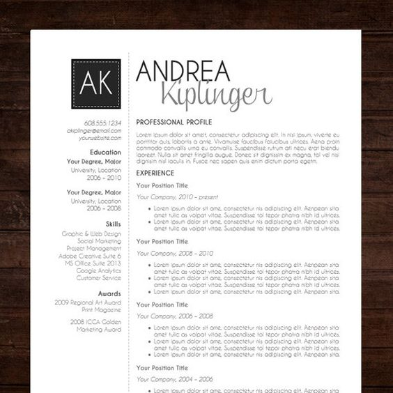 resume template cv template word for mac or pc professional instant download resume template word format