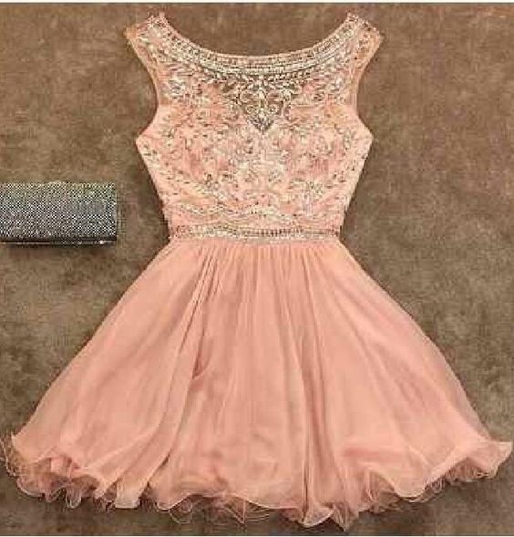 Blush Pink Homecoming Dress,Homecoming Dresses,Beading Homecoming Gowns,Short Prom Gown,Blush Pink Sweet 16 Dress