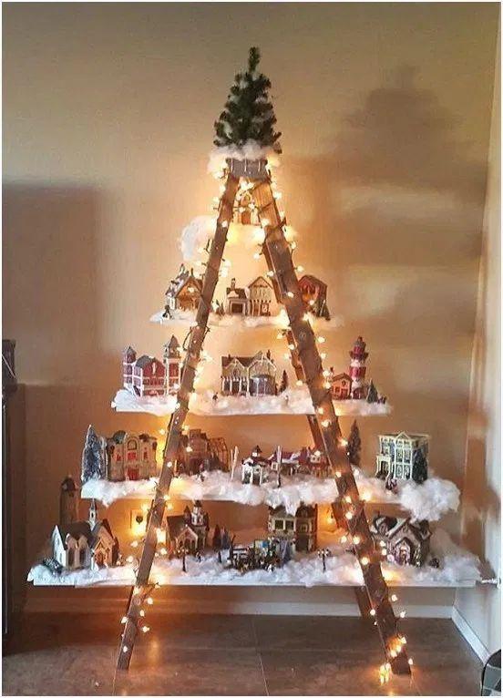kerstdorp in trapezevormige kast