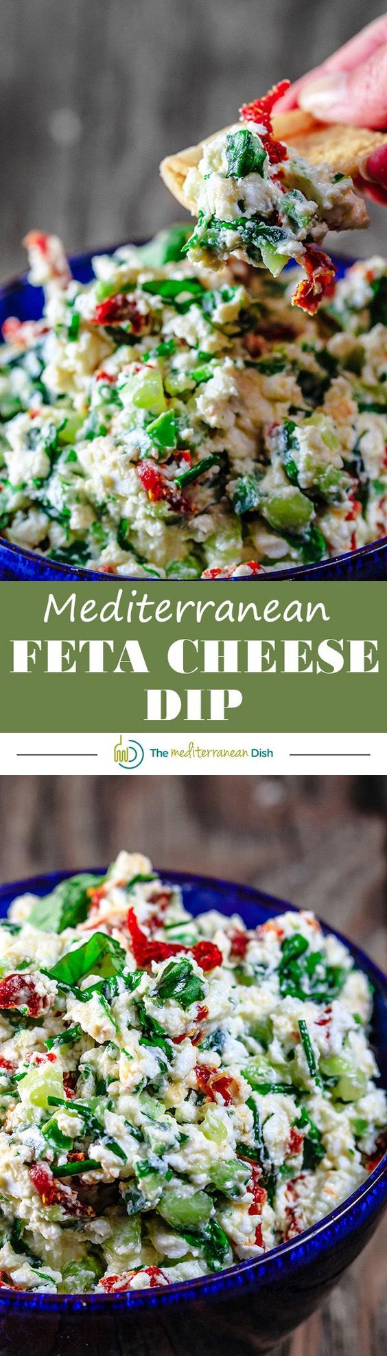 Mediterranean Feta Cheese Dip   The Mediterranean Dish. An impressive 5-minute cheese dip with feta, fresh basil, chives, sun-dried tomatoes! Make it for game day or your next party! #dips #ComfortFoodFeast