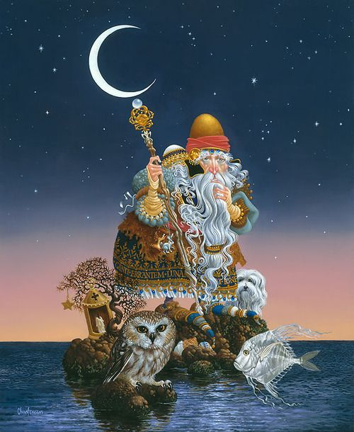 The Man Who Minds the Moon,by James C. Christensen Published from the artist's original painting.  Once again finding inspiration in the works of Shakespeare, James Christensen'sThe Man Who Minds th