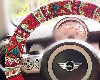 Red zigzag Aztec Chevron Cross Multicolor Steering wheel cover, Red chevron bohemian steering wheel cover