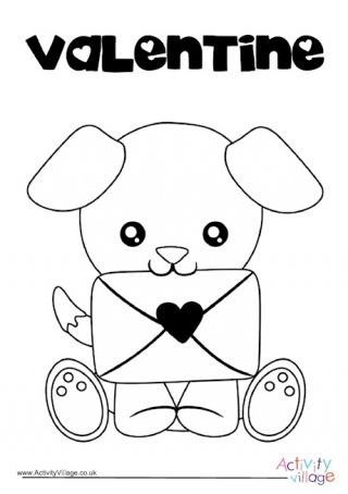 Valentine S Day Puppy Colouring Page Puppy Coloring Pages Teddy Bear Coloring Pages Puppy Valentines