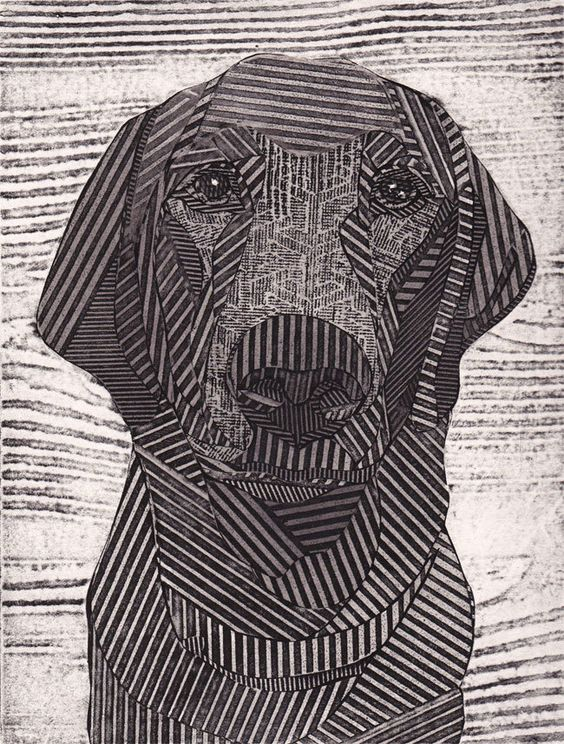 Original, textured, black and white collograph of a Labrador Retriever | Bonnie Murray | In a collagraph, the plate is built up and manipulated by the artist, using a collage-like process which combines materials as diverse as cardboard, fabric, gesso, PVA glue, string, sandpaper, tissue, and found objects. The artist can also draw lines into the gesso before it hardens | As a result, the plate may print as both relief and intaglio. Collagraph prints are usually pulled on a press