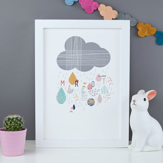Personalised Rain Cloud Nursery Print A4 A3 by ConnieClementine