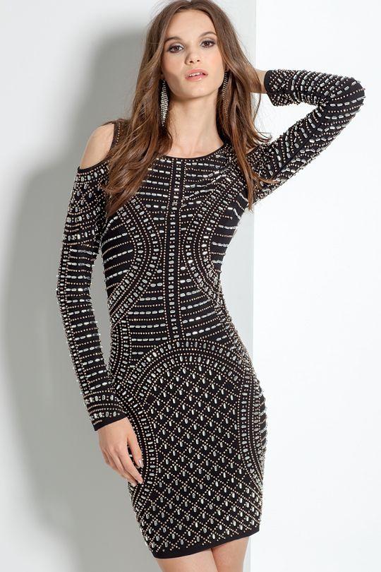 Beaded Cold Shoulder Short Dress #camillelavie