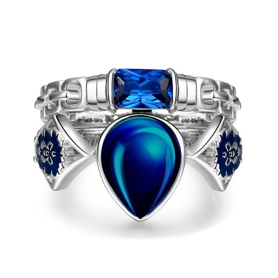 Water-drop Lab-created Blue Sapphire with Lion Face Design Ring Set in Game Theme