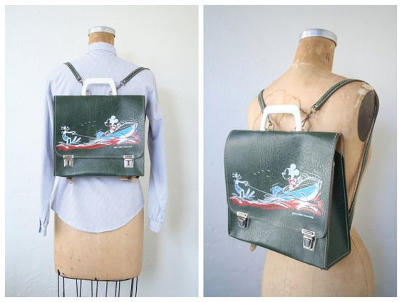 1950s Mickey Mouse & Goofy book bag  school satchel / by AgeofMint