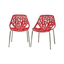 Baxton Studio Birch Sapling Red Plastic Modern Dining Chair (Set of 2)