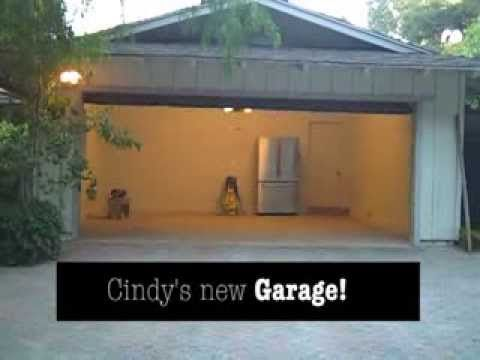 The california ranch house garage is transformed inside for Ranch house garage doors